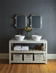AH44 – Beautifully designed antique white double vanity with white marble top and porcelain bowl sinks. #HPmkt GJ Styles  212 N. Main, 212 N. Wrenn, 204 E. Kivett, 315 S. Elm