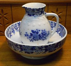 Antique Blue & White Wash Pitcher & Bowl Set - Copeland