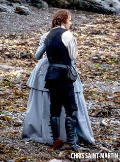 Sam Heughan and Caitriona Balfe on Outlander Season 3 in Dunure