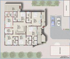 فيلا خليجي 646 متر مربع 6 غرف نوم + 1 » arab arch Square House Plans, My House Plans, House Layout Plans, Family House Plans, House Layouts, House Floor Plans, Home Map Design, Villa Design, Villa Plan