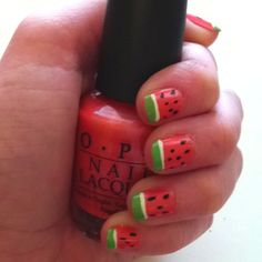Watermelon nails for spring/summer! Double cute with the green tips! (try using scotch tape to make color layers)