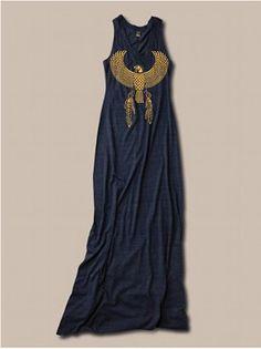 Womens BOHO Maxi Dress, Egyptian Dress with Eagle Print, Vintage Clothing, Desert Style Grunge Goth, Desert Fashion, Boho Fashion, Womens Fashion, Bohemian Mode, Bohemian Style, Vintage Outfits, Tank Top Dress, Textiles