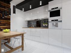 Znalezione obrazy dla zapytania kuchnia drewno i biel
