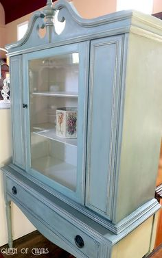duck egg blue, old ochre on detail, dark wax wash (wax with mineral spirits) - maybe replace glass with chicken wire??