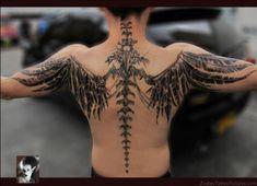 Spine Tattoo For Men, Tattoo Down Spine, Neck Tatto, Cool Back Tattoos, Back Tattoos For Guys, Best Tattoos For Women, Bone Tattoos, Finger Tattoos, Sleeve Tattoos