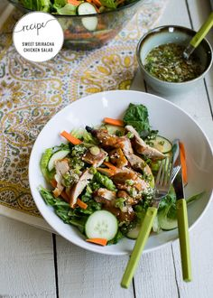 Sweet and Spicy Sriracha Chicken Salad Recipe | http://hellonatural.co/sweet-spicysriracha-chicken-salad/