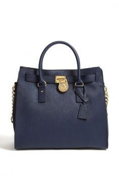 Navy Saffiano Large Hamilton North South Tote by MICHAEL Mic
