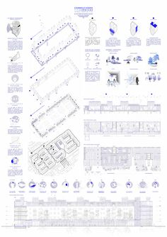 COAM - PROPUESTAS PREMIOS PFC COAM 2016 Presentation Board Design, Architecture Presentation Board, Portfolio Presentation, Architecture Panel, Architecture Graphics, Architecture Design, Schematic Design, Diagram Design, Architectural Floor Plans