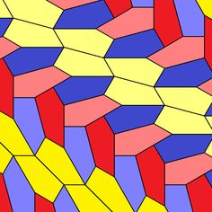 The 15th convex monohedral pentagonal tiling, discovered in 2015. P5-type15-chiral isohedral coloring - . Monohedral convex pentagonal tiling, 3-isohedrally colored, by permission from www.jaapsch.net. Tomruen - Own work