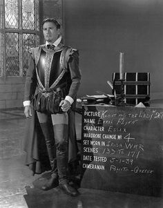 Errol Flynn costume test for The Private Life of Elizabeth and Essex directed by Michael Curtiz, 1939