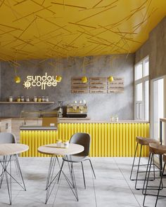 "Coffee Shop "" Sunday Coffee"" in Lviv, Ukraine. Yellow interior with nice coffee bar Coffee Shop Interior Design, Coffee Shop Design, Restaurant Interior Design, Yellow Restaurant, Restaurant Restaurant, Sunday Coffee, Cc Coffee, Bunn Coffee, Coffee Bars"