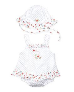 f17f7f0fb7a Kissy Kissy s Ladybug Garden Ruffle Bubble   Floppy Hat are the perfect  partners for a beautiful spring day with your baby girl