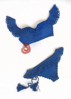 Crochet el traje de baño Indigo croptop de traje