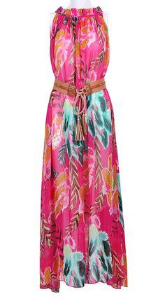 Feather Print Belt Chiffon Dress