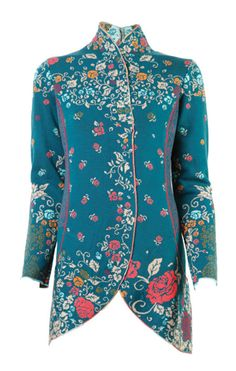 IVKO Woman`s Merino Wool Victorian Jacket Style 42502 089 PETROL. Ivko's high collared Victorian 100% extra fine Merino wool in Petrol, which is a deep teal. Hidden snap closures. Flattering pleated back with embroidery.