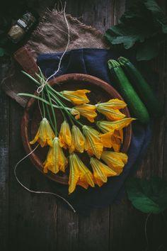 Summer zucchini squash blossoms.