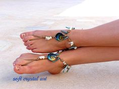 Barefoot Sandals Barefoot Beach Jewelry Blue Seashells Hippie Sandals Foot Jewelry Toe Thong on Etsy, $22.00