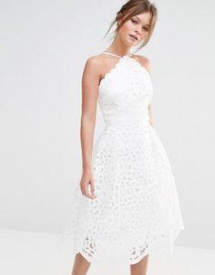 06d1956d5f3a Chi Chi London High Neck Cutwork Midi Prom Dress Halter Top Prom Dresses