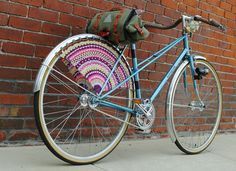 Crocheted, beaded bicycle skirt guard.  Gorgeous!