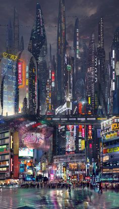Ideas For Futuristic Concept Art Sci Fi Cyberpunk City Cyberpunk City, Cyberpunk Kunst, Cyberpunk Aesthetic, Futuristic City, City Aesthetic, Futuristic Technology, Futuristic Architecture, Cyberpunk Fashion, Technology Gadgets