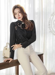 Korean Women`s Fashion Shopping Mall, Styleonme. Korean Fashion Men, Korean Women, Womens Fashion, Cute Asian Girls, Beautiful Asian Girls, Spanx Faux Leather Leggings, Asian Street Style, Collars For Women, Collar Blouse