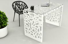 Kattedra Mabele Kattedra origins from a single metal sheet that has been laser… Steel Furniture, Modern Furniture, Furniture Design, Cnc Table, Shabby Chic Homes, Table And Chairs, Interior Design, Decoration, Home Decor