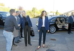 5 October 2016 - Princess Mary visits Roskilde Technical school - jacket by Alexander McQueen, blouse by Baum Und Pferdgarten, shoes by Gianvito Rossi