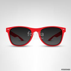 ce69506b61 Vector  Sunglasses vector illustration. Red rim.