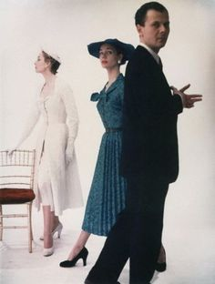 John Cavanagh with two models 1953
