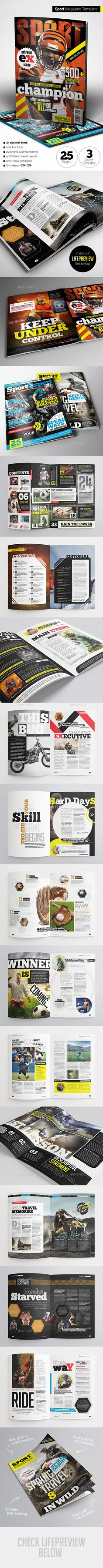 Sport Magazine Template #design #journal Download: http://graphicriver.net/item/sport-magazine/11365002?ref=ksioks