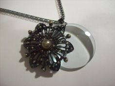 Vintage Ab Crystal Pearl Floral Filigree Magnifying Glass Necklace   jenstarr - Jewelry on ArtFire