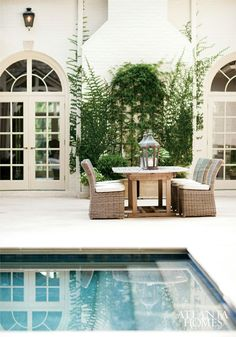 Outdoor patio and pool. 1 by erica george dines - atlanta homes Outdoor Areas, Outdoor Rooms, Outdoor Dining, Outdoor Furniture Sets, Outdoor Decor, Dining Table, Deck Furniture, Recycled Furniture, Dining Set