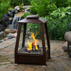 Extend your outdoor living season and enjoy a real fire without the mess and hassle of wood. Slide out drawer hold up to four cans of gel fuel. Includes storage cover to protect unit when not in use. Fireplaces comes with hand-painted cast concrete logs, decorative lava rock, and protective cover.