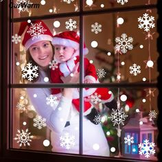 OurWarm Christmas Snowflake Window Sticker Winter Wall Stickers Kids Room Christmas Decorations for Home New Year 48pcs Stickers