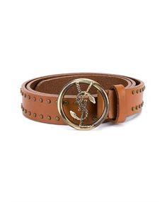 SAINT LAURENT - Round Buckle Studded Belt