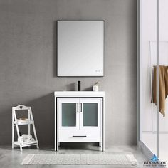 "Blossom ✔️BIRMINGHAM 30"" Bathroom Cabinet Acrylic Top Glossy White 30 Inch Bathroom Vanity, 30 Inch Vanity, Single Sink Bathroom Vanity, Bath Cabinets, Kitchen Cabinets In Bathroom, Airbnb Design, Frosted Glass Door, Floating Vanity, Loft Design"