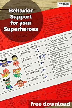 Grab this free positive behavior chart to support your superhero students! #behavior #behaviorchart