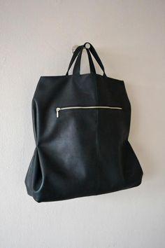 Folded shopper by Atelier Judith van den Berg Handmade black leather bag. Leather Backpack, Leather Bag, Black Leather, Shopper Bag, Tote Bag, Handmade Handbags, Big Bags, Belts For Women, Beautiful Bags