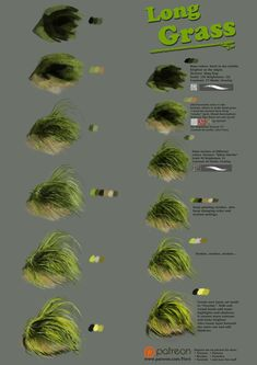 Digital painting – Wie langes Gras malen … Digital painting – How To Paint Long Grass … Acrylic Painting Techniques, Painting Lessons, Art Techniques, Painting & Drawing, Painting Grass, Drawing Tips, Drawing Process, Drawing Lessons, Digital Painting Tutorials