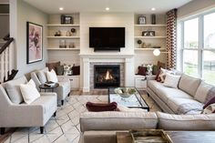 Explore 1214 Inspiration Pkwy N, Bayport in Great Room Layout, Small Living Room Layout, Narrow Living Room, New Living Room, Living Room Layout With Fireplace And Tv, Small Living Room Ideas With Tv, Narrow Family Room, Family Rooms, Living Room Arrangements