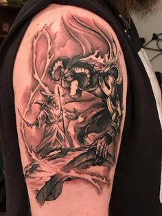 My gandalf vs balrog LOTR tattoo done by Terry Harwood of Eye Pollution Tattoo Boiling Springs SC Gandalf Tattoo, Tolkien Tattoo, Lotr Tattoo, Ring Tattoos, Sleeve Tattoos, Gandalf Balrog, Tatouage Tolkien, Geometric Wolf Tattoo, Lord Of The Rings Tattoo