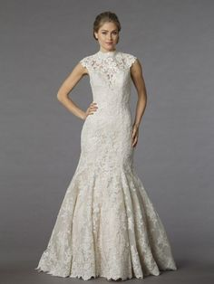 Mermaid Wedding Dress Lace Wedding Dress High Neck