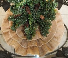 Love this ruffle burlap Christmas tree skirt.