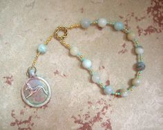 Anubis Pocket Prayer Beads in Amazonite: Egyptian God of the Underworld and the…