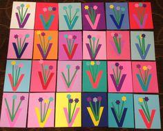 V is for Vase craft for kids. visit www.letsgetreadyforkindergarten.com