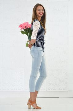 Navy White Stripe Lace Sleeve Top - My Sisters Closet