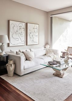 white living room decor This Artists Airy Apartment Puts Her Own Work at the Forefront White Living Room, Room Design, Apartment Room, Apartment Decor, Minimalist Living, Living Room Decor Apartment, White Living, Beige Living Rooms, Apartment Living Room