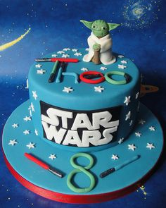 Star Wars Yoda Cake by small town girl bakery. For the lil man.