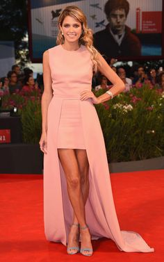 Trending Fashion Color: Barbie in Peachy Pink. Helena Bordon in Elie Saab rustic peachy pink short long hemline minimal dress at Venice Film Festival 2014.