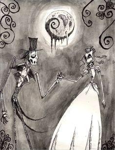 Gothic Romance II by BunnyBennett on DeviantArt Tim Burton Kunst, Tim Burton Art, Gothic Fantasy Art, Fantasy Kunst, Dark Fantasy, Pin Up Girls, Gothic Kunst, La Danse Macabre, Horror